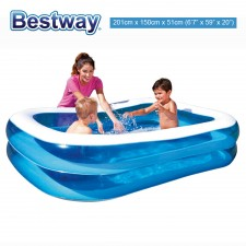 BESTWAY 201cm Large Inflatable Swimming Pool for Kids Rectangular Family Pool Inflatable Pool Toy Model 54009