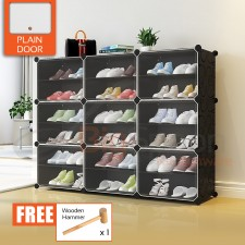 BIGSPOON 18-Slot Plastic Shoe Rack Cabinet Shoes Storage Rack DIY Shoe Rack Organizer with 9 Doors Waterproof Stackable Shoe Box Multipurpose Shoes Shelf Transparent Adjustable Cube Cabinet Anti-Dust Free Wooden Hammer