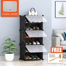BIGSPOON 6-Slot Plastic Shoe Rack Cabinet Shoes Storage Rack DIY Shoe Rack Organizer with 3 Doors Waterproof Stackable Shoe Box Multipurpose Shoes Shelf Transparent Adjustable Cube Cabinet Anti-Dust Free Wooden Hammer