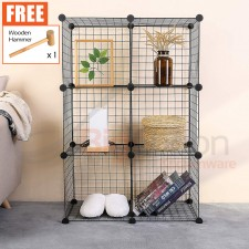 BIGSPOON DIY Cabinet 6 Cubes (2X3) Cube Size 35cmX35cm Metal Storage Rack Cube Storage DIY Shelf Wire Grid Open Rack Bookshelf Book Rack Book Cases Book Shelves Rack Living Room Display Cabinet Bedroom Furniture Pet Playpen Fence Free Wooden Hammer