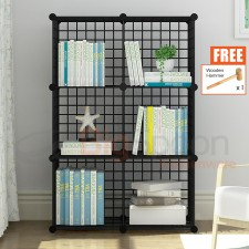 BIGSPOON DIY Cabinet 6 Cubes (2X3) Cube Size 30cmX30cm Metal Storage Rack Cube Storage DIY Shelf Wire Grid Open Rack Bookshelf Book Rack Book Cases Book Shelves Rack Living Room Display Cabinet Bedroom Furniture Pet Playpen Fence Free Wooden Hammer