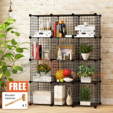 BIGSPOON DIY Cabinet 12 Cubes Cube Size 35cmX35cm Metal Storage Rack Cube Storage DIY Shelf Wire Grid Open Rack Bookshelf Book Rack Book Cases Book Shelves Rack Living Room Display Cabinet Bedroom Furniture Open Shelf Pet Playpen Fence Free Wooden Hammer