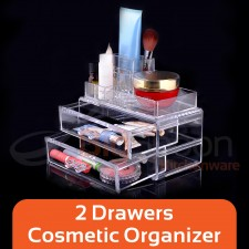 BIGSPOON 2-Drawer Mini Cosmetic Organiser Makeup Organizer Drawer Cosmetic Storage Box Lipstick Holder Make Up Organiser Makeup Drawer Organizer Jewellery Storage Box Lipstick Case Makeup Rack for Makeup Brushes and Sets Eyeshadow Moisturizers Nail Polish