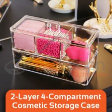 BIGSPOON 2-Layer 4-Compartment Clear Acrylic Case Cosmetic Organiser Acrylic Box Makeup Organizer Cosmetic Storage Box with Lid Make Up Rack Jewellery Organizer Jewelry Storage Box for Makeup Brushes Eyeshadow Moisturizers Stationeries Hair Accessories