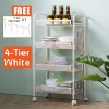 BIGSPOON Multi Purpose Rack with Wheels Kitchen Trolley Rack Storage Trolley Tray Trolley Kitchen Cart Rak Troli Serbaguna Rak Dapur Besi for Office Bathroom Dining Room Living Room Toilet Free 5-Slot Side Hook for Hanging Utensils and Kitchenware