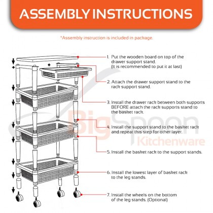 BIGSPOON Exclusive Solid Wood Top 4-Tier Kitchen Trolley Rack Wheels Multipurpose Polypropylene (PP) Storage Cart Rak Troli Serbaguna Rak Dapur [6240]