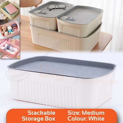 BIGSPOON XS/S/M Size Stackable Storage Box Organizer Container Multipurpose Storage Box with Lid Polypropylene PP Water Resistant Japanese Style Bra Organizer Box Underwear Clothes Wardrobe Closet Organizer Socks Storage Container (Various Colours)