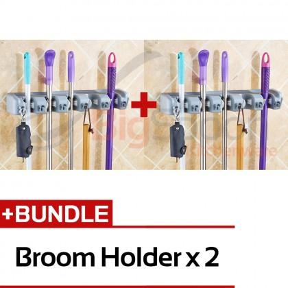 [BUNDLE DEAL] Set of 2 5-Slot 6-Hook Mop and Broom Holder Hanger Storage Organizer Wall Mounted