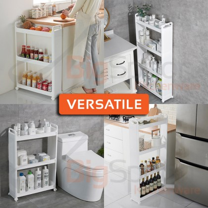 BIGSPOON 3/4-Tier Space Saver Slim Sliding Storage Rack for Kitchen Toilet Bathroom with Wheels and Built-in Drainage Tray Multipurpose Narrow Spaces Food Organizer Shampoo Bottle Shelves Versatile Trolley Cart with Handle