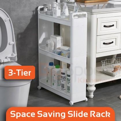 BIGSPOON 3/4-Tier Space Saver Slim Sliding Storage Rack with Wheels Handle Built-in Drainage Multipurpose Trolley Cart