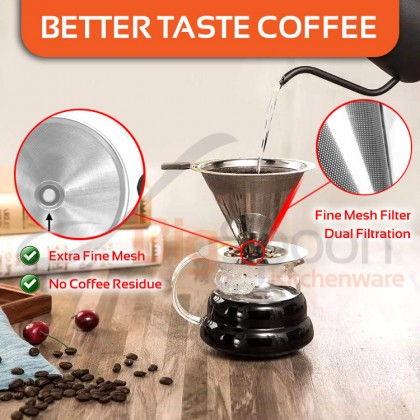 BIGSPOON 304 Stainless Steel Professional Pour Over Coffee Filter Reusable Fine Mesh Coffee Dripper Stand No Filter Paper Needed Coffee Filter Cup Silicone Handle Coffee Funnel Hand Brew Coffee for 1-4 Cups