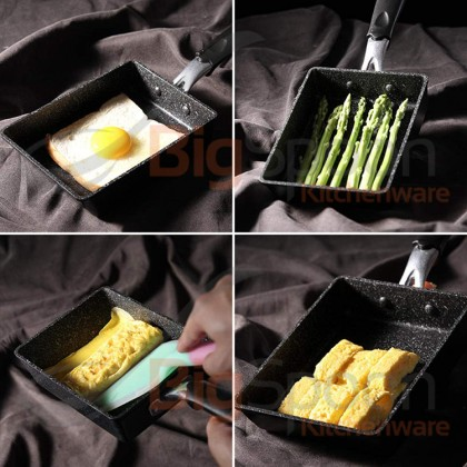 BIGSPOON SARACOOK Maifan Stone 15cm x 18cm Tamagoyaki Pan Non-stick Aluminium Smokeless Japan Pan Maifanitum Cookware Mable Coating Healthy Medical Stone Tamago Pan Induction Stove Electromagnetic Cooker Bakuhanseki