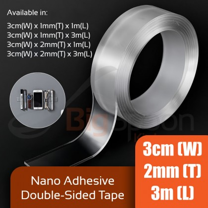 BIGSPOON Removable 3cm x 2mm x 1m/3m Nano Magic Tape Reusable Strong Double-Sided Adhesive Tape Washable Flexible Transparent Clear Nano Tape Multifunction Seamless