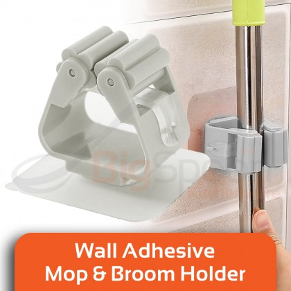 BIGSPOON Wall Adhesive Mop and Broom Holder Space Saving Hanging Strong Sticker Broom Gripper Hanger No Tools Required Easy Installation Wide Application