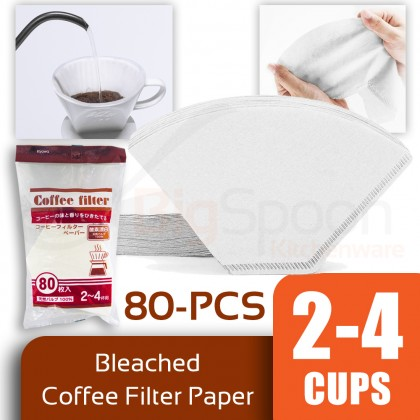 BIGSPOON KYOWA 2-4 Cups 80-PCS Bleached Coffee Filter Paper 100% Natural Pulp High Quality Disposable for Coffee Dripper Stand Made in JAPAN