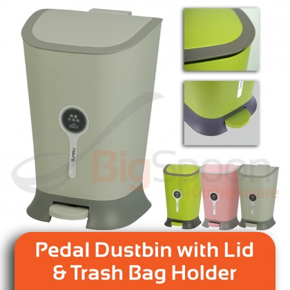 BIGSPOON Low Noise Pedal Dustbin with Lid and Garbage Bag Holder for Kitchen Bedroom Office Polypropylene PP Ergonomic Trash Can Foot Step Trash Bin with Cover for Guest Room Toilet Washroom Green/Grey/Pink