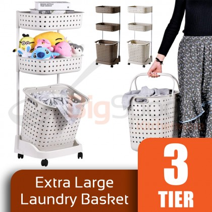 BIGSPOON Extra Large Capacity 3-Tier Laundry Basket with Wheel Japanese Style Laundry Rack with Deep and Removable Basket Sturdy Trolley Cart Space Saving Storage Trolly Polypropylene PP Multipurpose Organizer Built-In Drainage Beige/Brown