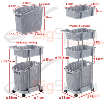 BIGSPOON Large Space Saving 2-Tier/3-Tier Laundry Removable Basket with Wheel Handle Side Hooks Polypropylene Multipurpose Organizer Trolley Cart