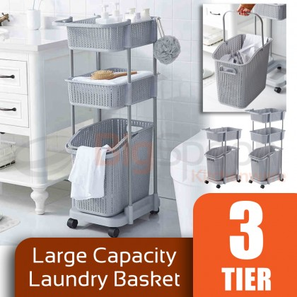 BIGSPOON Large Capacity Space Saving 2-Tier/3-Tier Laundry Basket with Wheel and Handle and 2 Side Hooks Laundry Rack with Deep and Removable Basket Sturdy Trolley Cart Storage Trolly Polypropylene PP Multipurpose Organizer Built-In Drainage