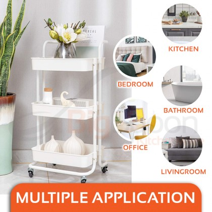BIGSPOON Rolling 3-Tier Utility Storage Kitchen Cart with Lockable Wheel Spacious Sturdy Durable Trolley Cart with Ventilation Deep Basket Comfortable Handle Energy Saving Space Saving Multipurpose for Bathroom Bedroom Toilet Laundry Room Black/White