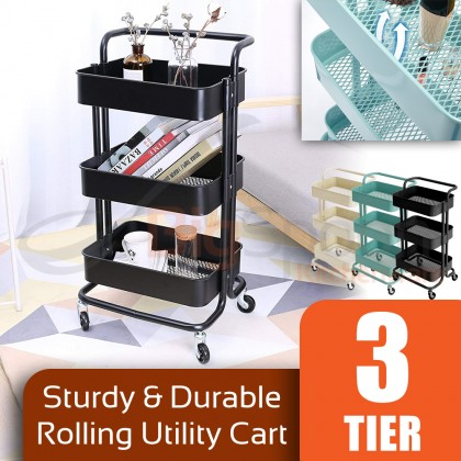 BIGSPOON Spacious Sturdy 3-Tier Utility Storage Kitchen Rolling Cart with Wheel Durable Metal Trolley Cart with Ventilation Deep Mesh Basket Comfortable Handle Energy Saving Space Saving Multipurpose for Bathroom Bedroom Toilet Laundry Room