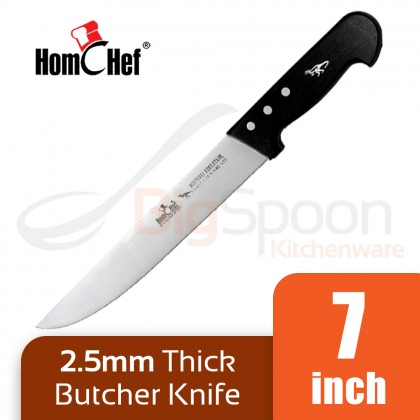 HOMCHEF Butcher Knife 7 inch Stainless Steel 2.5mm Thick Durable Blade Pisau Sembelih BK-217