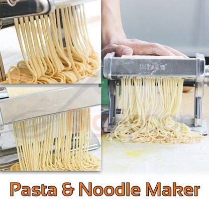 BIGSPOON SHULE High Quality Manual Noodle Machine Pasta Maker Stainless Steel Home Restaurant Kitchen Tool Accessories Anti-Slip Mesin Pan Mee for Homemade Making Dough Dumpling Wonton Wrappers Spaghetti Fettuccine Large/Small