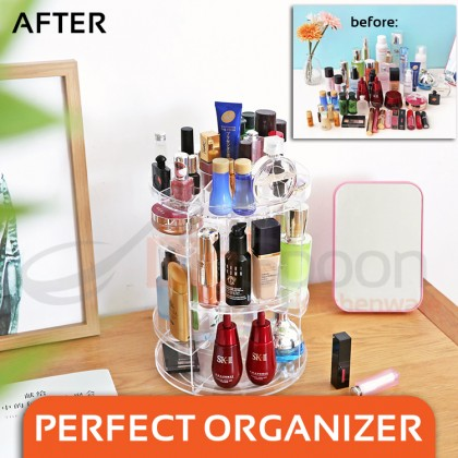 BIGSPOON 360 Rotating Acrylic Makeup Organizer Adjustable Layer Height Rotation Cosmetic Organiser Clear 17-Slot Top Tray Transparent Storage Rack Lipsticks Holder Nail Polish Stand for Perfume Brushes Hand Lotion Cream JN-820