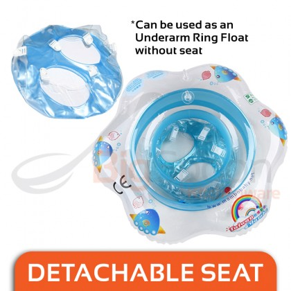 ORIGINAL TAIWAN MAMBOBABY Baby Underarm Ring Swimming Float 1-5 Years Old 30kg Load with Detachables Seat Safety Swim Sitting Float Soft Comfortable Kids Toys for Pool Free Temperature Card Manual Air Pump Repair Patch Made in TAIWAN M01UF01