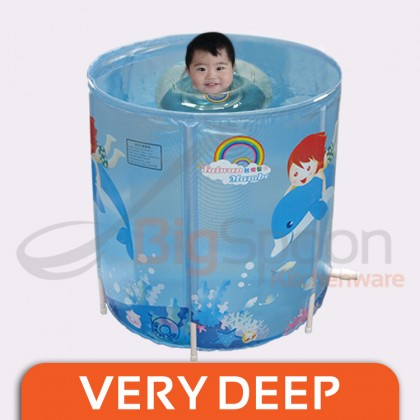 ORIGINAL TAIWAN MAMBOBABY Infant Swimming Pool D80cm x H80cm Deep Toddler Kids Bath Tub Foldable Baby Bathtub with Stand Stable Thick PVC Portable Easy Storage Drainage Pipe for Indoor Outdoor Made in TAIWAN M01TB01