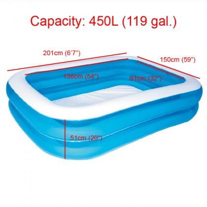 BESTWAY 54005 2.01m Inflatable Swimming Pool 2 Layers Rings Rectangular Big Kolam Mandi Renang Besar for Outdoor Family Kids Children Keluarga Kanak-kanak FREE Electric Air Pump Repair Patch