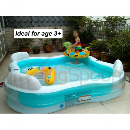 INTEX 56475NP 2.29m Inflatable Family Lounge Pool Swim Center Large Swimming Pool Big Size Kolam with 4 Seats 4 Backrests 2 Drink Holders for Outdoor Adult Kids Children Keluarga Kanak-kanak FREE Electric Air Pump Repair Patch