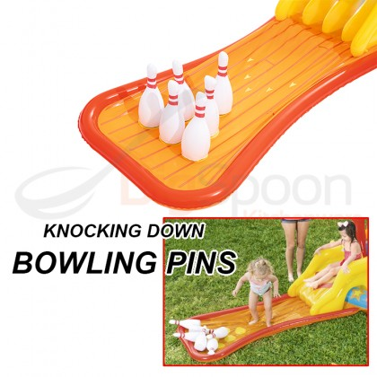 BESTWAY 53068 4.35m Lil Champ Play Center Inflatable Swimming Pool Game Kolam Mainan with Slide 2 Ring Toss 4 Play Ball Toys 6 Bowling Pins for Outdoor Kids Children Kanak-kanak Budak FREE Electric Air Pump Repair Patch