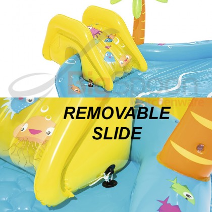 BESTWAY 53067 2.8m Sea Life Play Center Inflatable Swimming Pool Game Kolam Mainan Slide Ring Toss 4 Play Ball Toys Outdoor Kids Children FREE GIFT