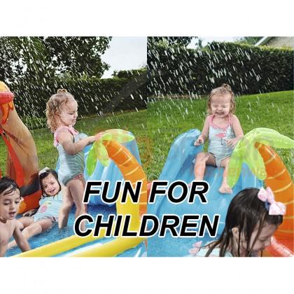 BESTWAY 53069 2.65m Lava Lagoon Play Center Inflatable Swimming Pool Game Kolam Mainan with Slide 4 Play Ball Toys for Outdoor Kids Children Kanak-kanak Budak FREE Electric Air Pump Repair Patch