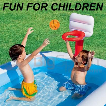 BESTWAY 54122 2.51m Basketball Play Pool Inflatable Swimming Play Pool Kolam Mainan Bola Keranjang Outdoor Kids Children Kanak-kanak FREE GIFT