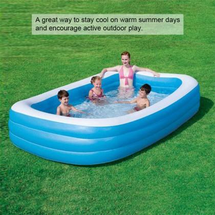 BESTWAY 54009 3.05m Inflatable Swimming Pool Extra Large 3 Layers Rings Rectangular Big Kolam Renang Besar for Outdoor Family Kids Children FREE GIFT