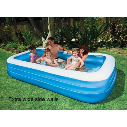 BESTWAY 54009 3.05m Inflatable Swimming Pool Extra Large 3 Layers Rings Rectangular Big Kolam Mandi Renang Besar for Outdoor Family Kids Children Keluarga Kanak-kanak FREE Electric Air Pump Repair Patch