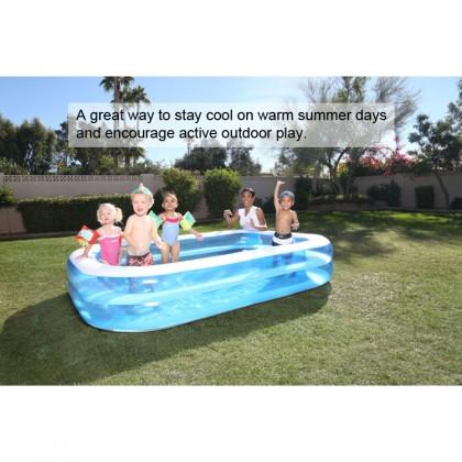 BESTWAY 54006 2.62m Inflatable Swimming Pool Large 2 Layers Rings Rectangular Big Kolam Mandi Renang Besar for Outdoor Family Kids Children Keluarga Kanak-kanak FREE Electric Air Pump Repair Patch