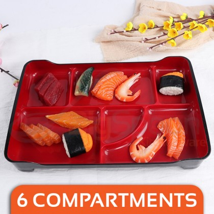 BIGSPOON Japanese Style 6-Compartment Large Bento Tray Lunch Plate ABS Plastic Serving Platter with Divider Partition Food Divided Plate Tableware Serveware