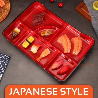 BIGSPOON Japanese Style 6-Compartment Large Bento Tray Lunch Plate ABS Plastic Serving Platter with Divider Partition Food Divided Plate Tableware Serveware for Home Restaurant Asian Cuisine Meal Dinner