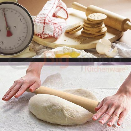 BIGSPOON 47cm x 6cm Wooden Rolling Pin Dough with Roller Bakeware Baking Utensils Pastry Tools