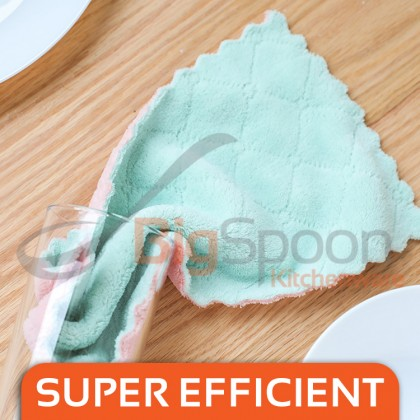 BIGSPOON 1-Pcs Super Absorbent Coral Velvet Towel Double-Sided Non Stick Oil Rag Dish Cleaning Cloth Decontamination Dishcloth Multipurposes Clean Clothes High Absorption Washing Towels Home Household Kitchen Tool