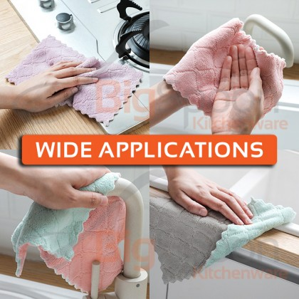 BIGSPOON 1pcsSuper Absorbent Coral Velvet Towel Double-Sided Dish Rag Cleaning Dishcloth Multipurposes Towels [CVT]