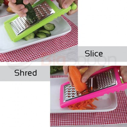 BIGSPOON 3-in-1 Stainless Steel Multifunctional Fine Shredder Coarse Slicer Vegetable Cheese Grater Kitchen Cutter with Anti-Slip Buckle [6817]