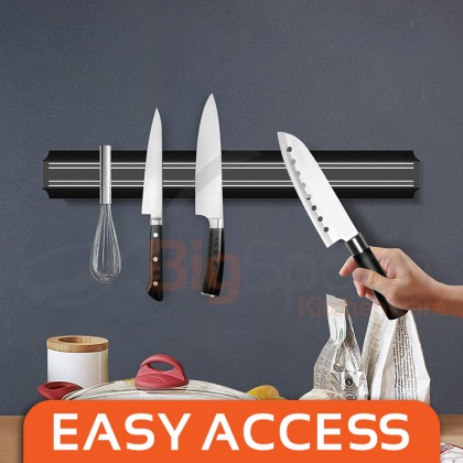 BIGSPOON 55cm Strong Magnetic Knife Holder Kitchen Knives Rack Wall Mounted Magnet Strip Bar Multipurpose Rack Utensils Storage Organizer [MKH-55]