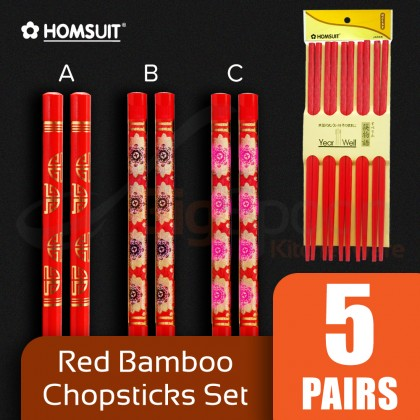 BIGSPOON HOMSUIT 5-Pair Red Bamboo Chopsticks with Design Chopstick Set Tableware Cutlery