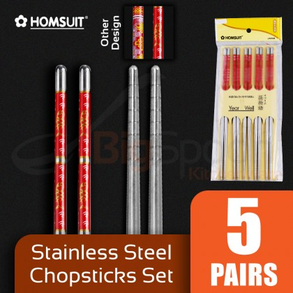 BIGSPOON HOMSUIT 5-Pair Stainless Steel Chopsticks with Design Chopstick Set Tableware Cutlery
