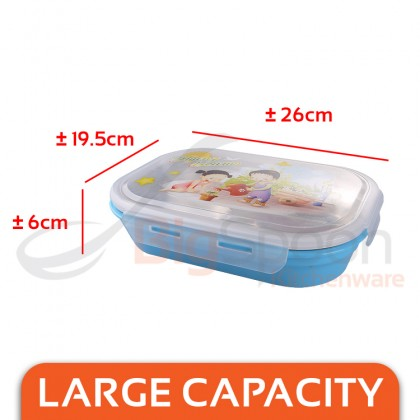BIGSPOON Keep Warm Lunch Box SUS304 Stainless Steel Food Safe Container 4-Compartment Divider with Transparent Lid Leakproof Portable Hot Water Heating Injection Bottom Tray Non-Toxic Large Capacity Bento Box For School Office University Travel Picnic