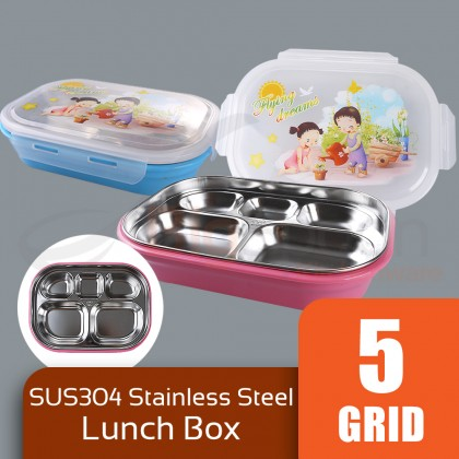 BIGSPOON Keep Warm Lunch Box SUS304 Stainless Steel Food Safe Container 5-Compartment Divider with Transparent Lid Leakproof Portable Hot Water Heating Injection Bottom Tray Non-Toxic Large Capacity Bento Box For School Office University Travel Picnic